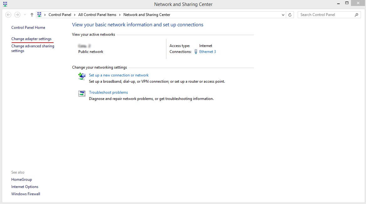 "Open ""Network and Sharing Center"" and click on ""Change adapter settings"""