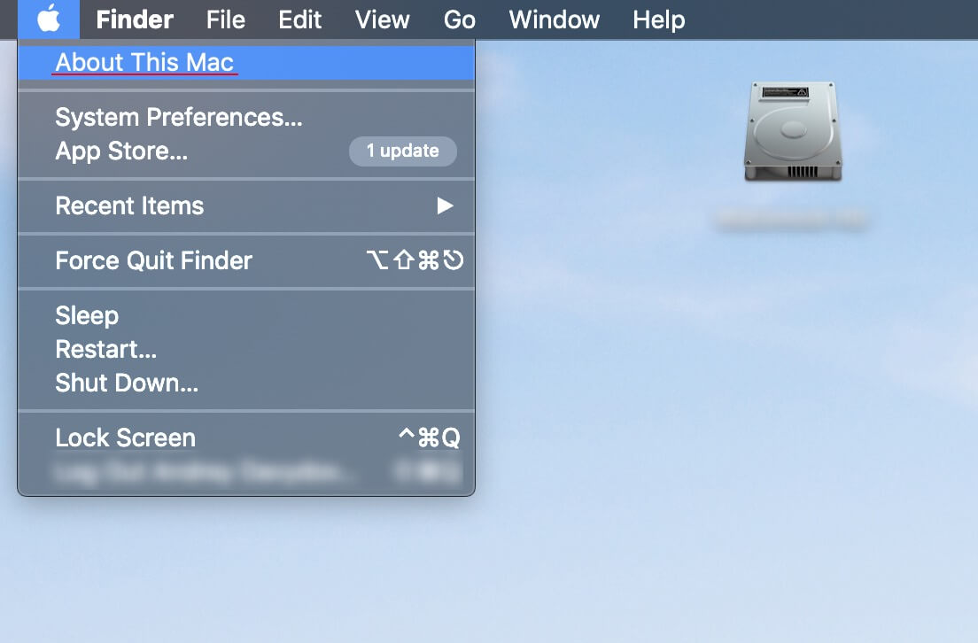 """Select """"About This Mac"""" from the """"Apple menu""""."""