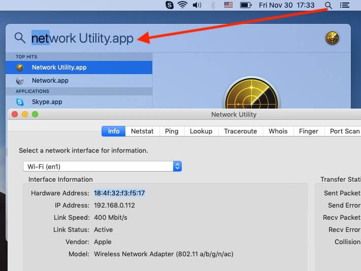 "Launch ""network Utility.app""."