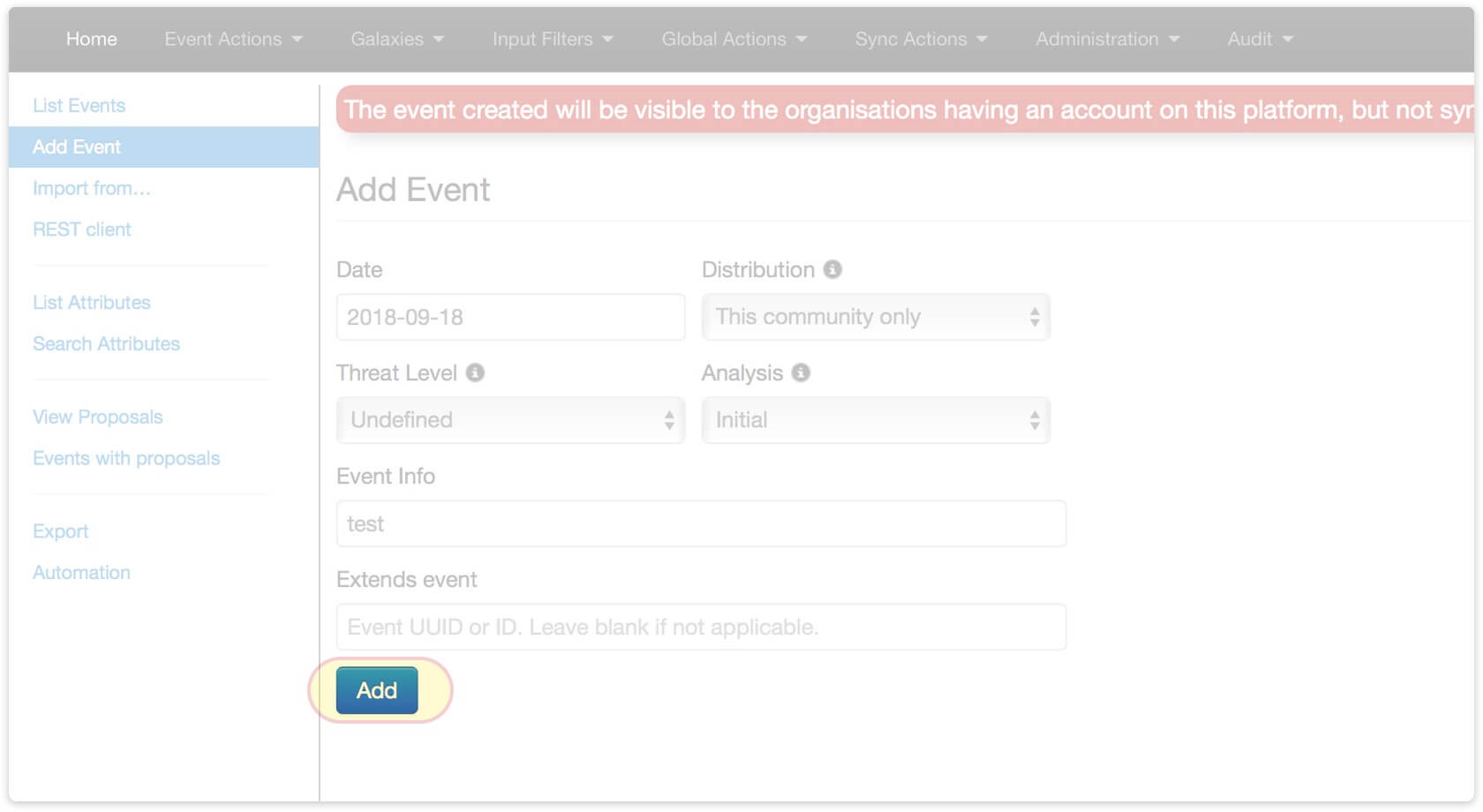 Go to Event Actions > Add Event and create an event