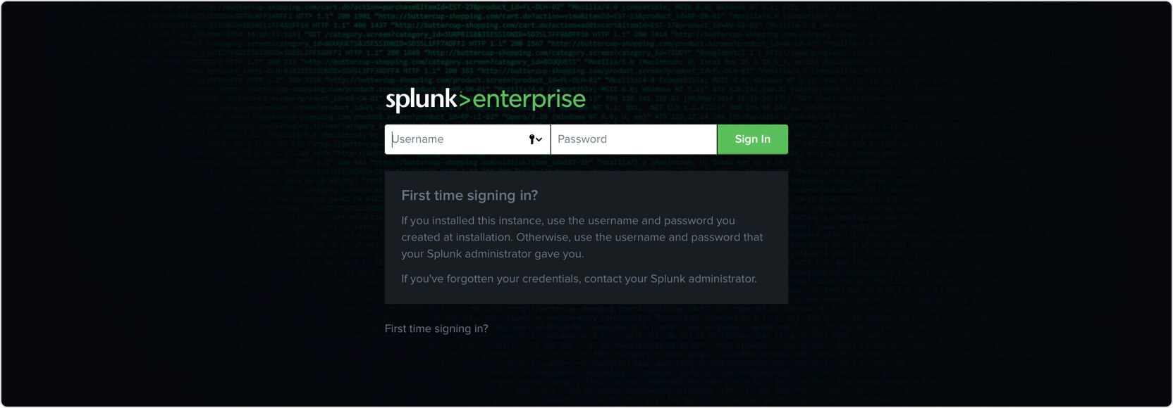 Log in to your Splunk instance