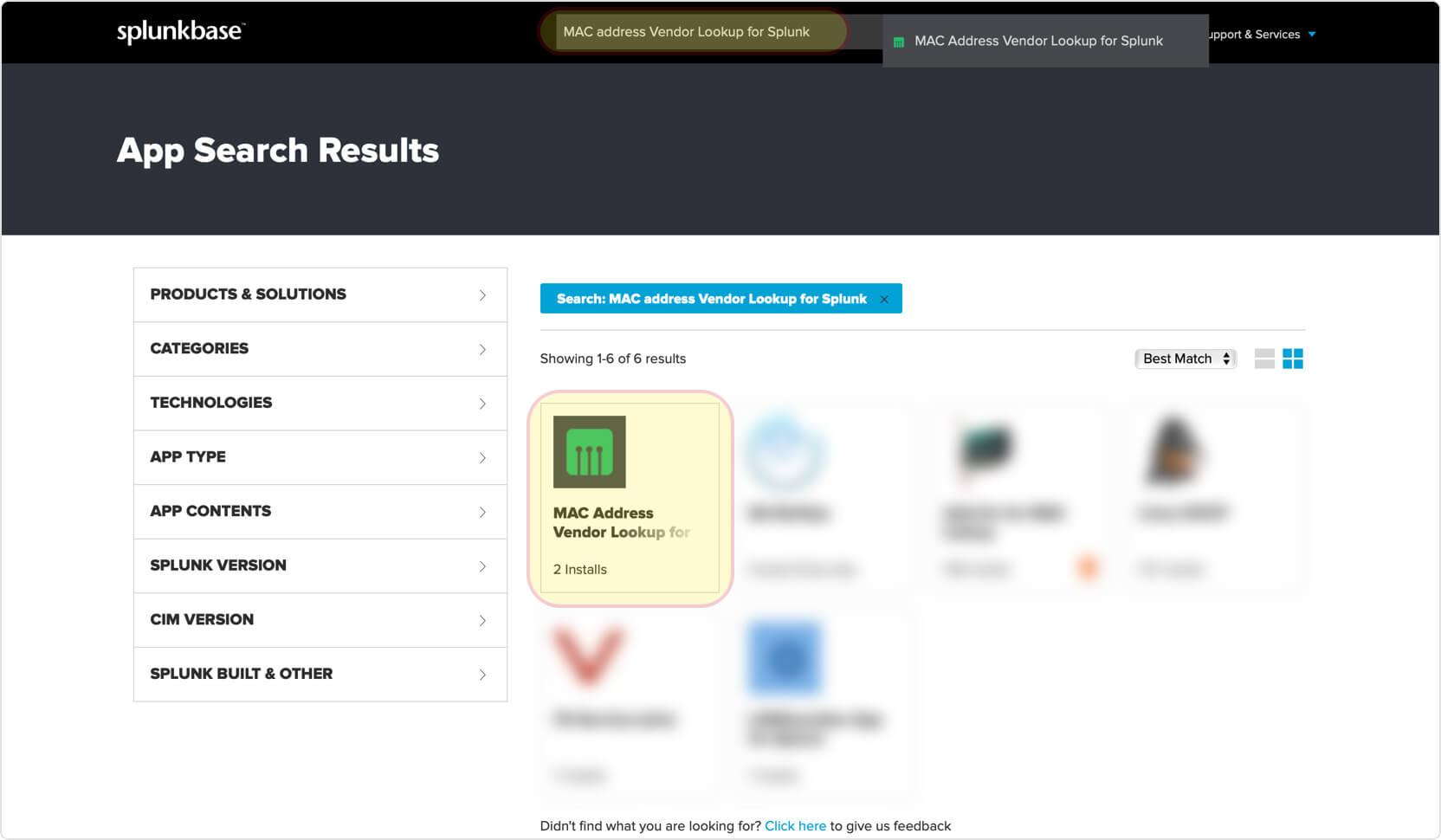 Splunk module | Integrations | API | MAC Address Vendor Lookup