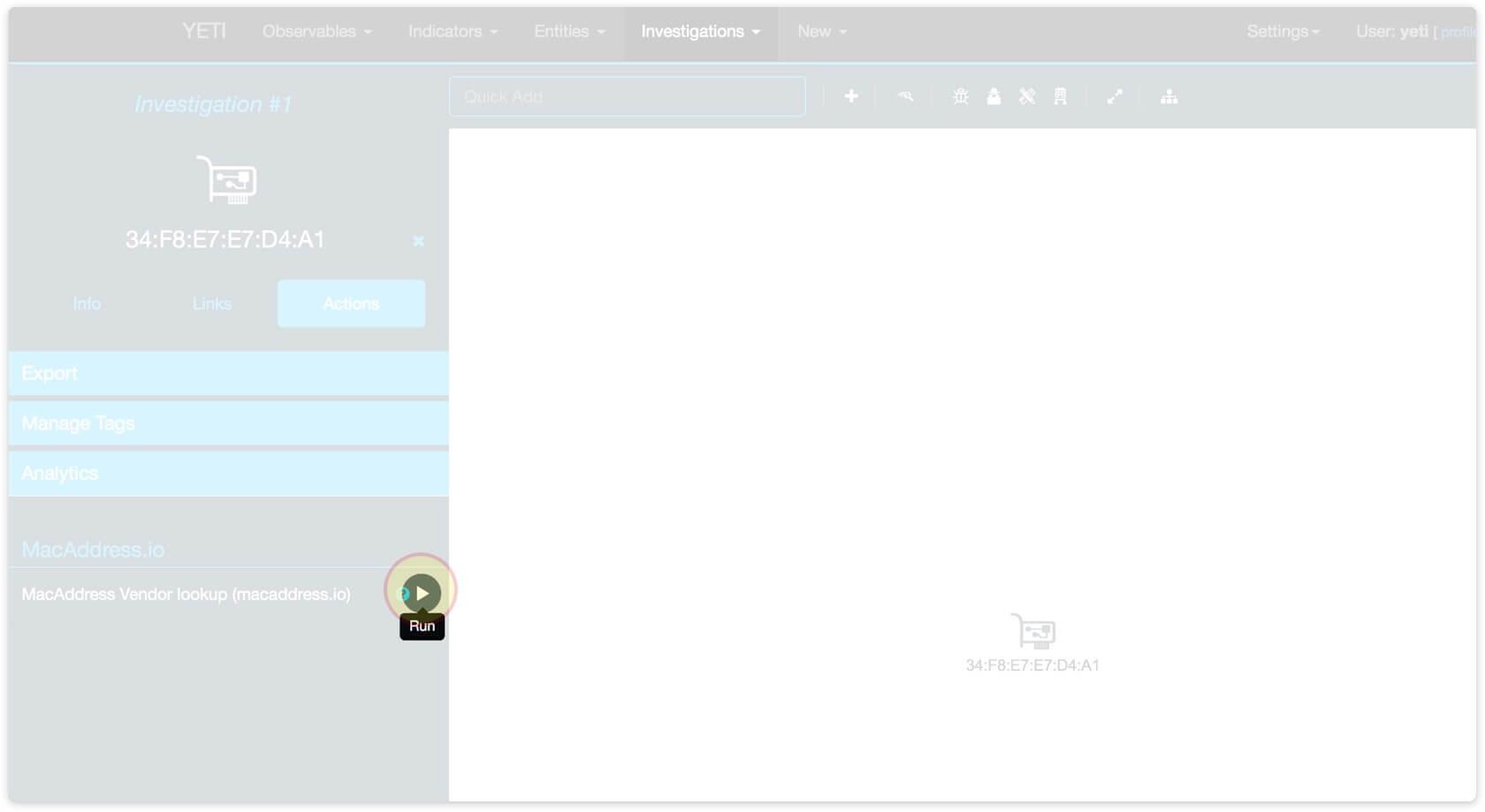 Click 'Run' to start the Mac Address Vendor Lookup analytics